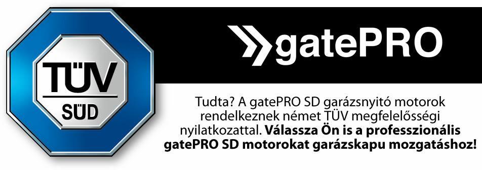 gatePRO SD garázsnyitó motor TÜV minősítés