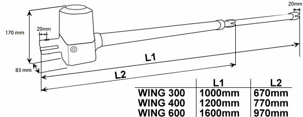Wing motor méretei
